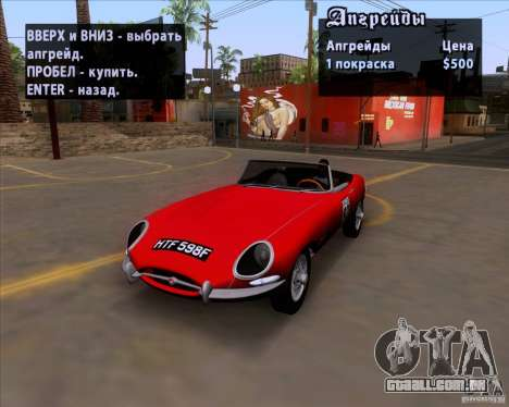 Jaguar E-Type 1966 para GTA San Andreas vista interior