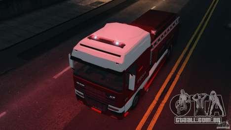DAF XF Firetruck para GTA 4 vista direita
