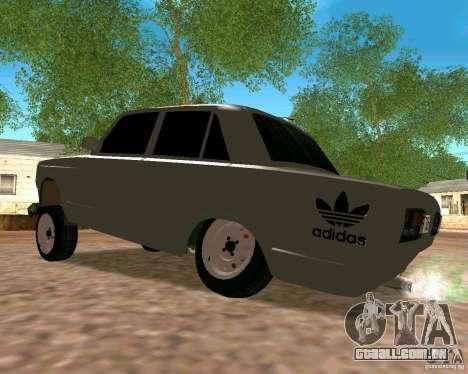 VAZ 2107 completo para GTA San Andreas traseira esquerda vista