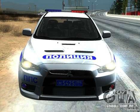 Mitsubishi Lancer Evolution X PPP polícia para GTA San Andreas vista traseira