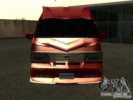 Toyota Hiace Vanning para GTA San Andreas vista interior