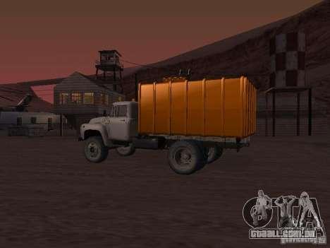 ZIL 431410 caminhão de lixo para GTA San Andreas traseira esquerda vista
