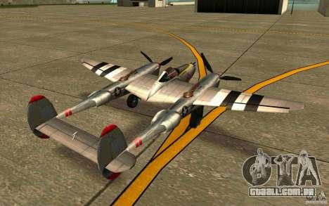 P38 Lightning para GTA San Andreas traseira esquerda vista