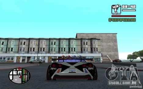 Atravessar o Corvette C6R inglês para GTA San Andreas traseira esquerda vista