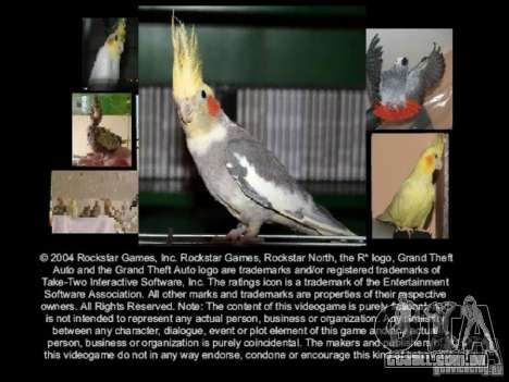 Beta de papagaios papagaio de tela de inicializa para GTA San Andreas