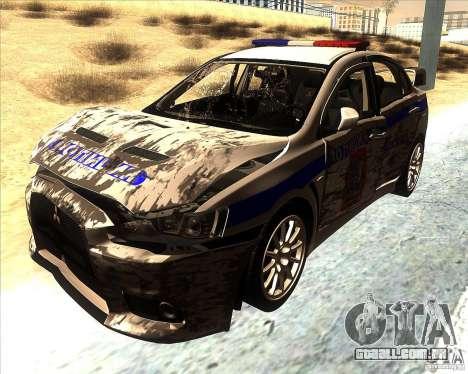 Mitsubishi Lancer Evolution X PPP polícia para GTA San Andreas vista superior