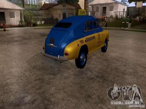 GAZ M20 Pobeda táxi para GTA San Andreas traseira esquerda vista