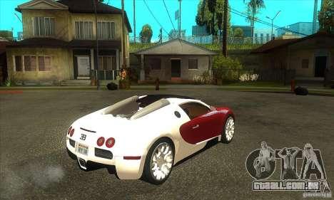 Bugatti Veyron Grand Sport para GTA San Andreas vista direita