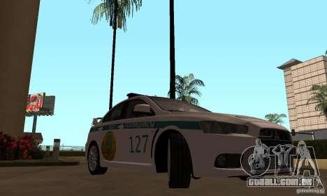 Mitsubishi Lancer Evolution X polícia do Cazaqui para GTA San Andreas vista direita