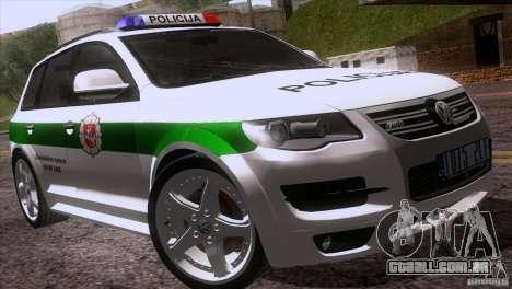 Volkswagen Touareg Policija para GTA San Andreas vista superior