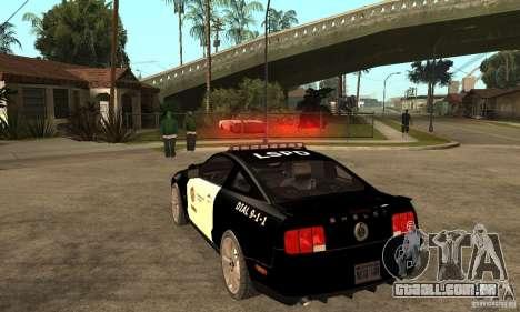 Shelby GT500KR Edition POLICE para GTA San Andreas traseira esquerda vista