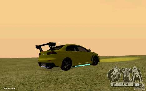 Mitsubishi Lancer Evolution Drift para GTA San Andreas traseira esquerda vista