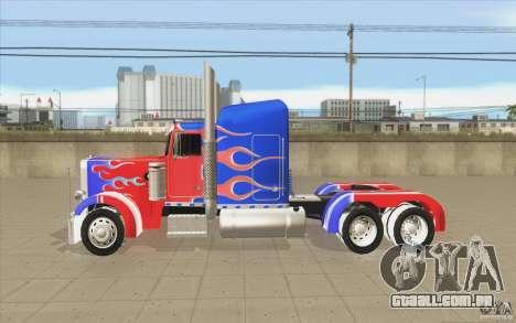 Peterbilt 379 Optimus Prime para GTA San Andreas esquerda vista