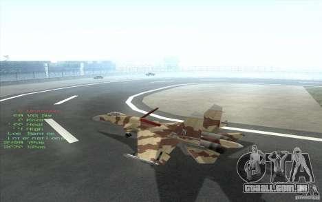 O Su-37 Terminator para GTA San Andreas vista interior