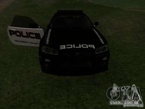Nissan Skyline R34 Police para vista lateral GTA San Andreas