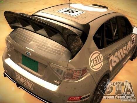 Subaru Impreza Gravel Rally para GTA San Andreas vista traseira
