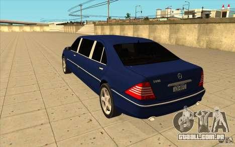 Mercedes-Benz S600 Pullman W220 para GTA San Andreas traseira esquerda vista