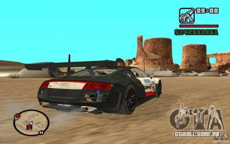 Audi R8 LMs para GTA San Andreas esquerda vista