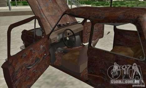 ZAZ 968 abandonado v. 2 para GTA San Andreas vista interior