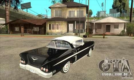 Chevrolet Impala 1958 para GTA San Andreas vista traseira