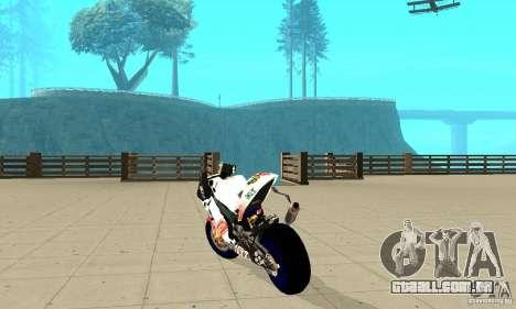 Honda Valentino Rossi Pcj600 para GTA San Andreas traseira esquerda vista