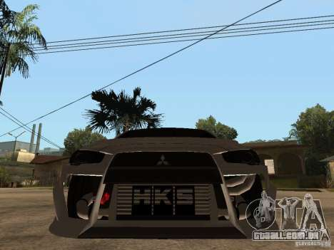 Mitsubishi Lancer Evolution X Drift Spec para GTA San Andreas vista direita