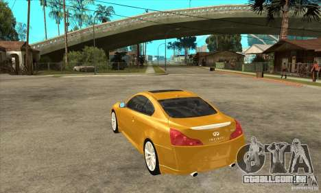 Infiniti G37 Coupe Sport para GTA San Andreas vista traseira