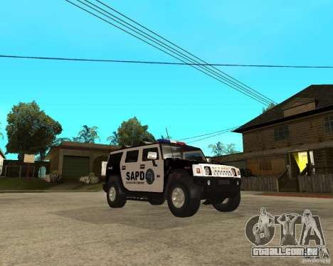 AMG H2 HUMMER SUV SAPD Police para GTA San Andreas vista traseira