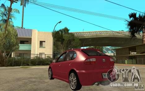Seat Leon Cupra - Stock para GTA San Andreas traseira esquerda vista