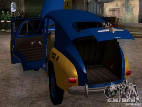 GAZ M20 Pobeda táxi para GTA San Andreas vista interior