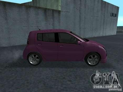 Toyota WiLL Cypha para GTA San Andreas traseira esquerda vista