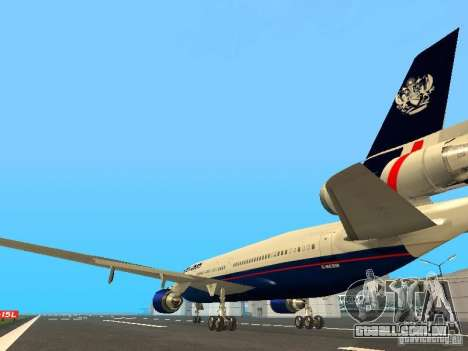 McDonell Douglas DC10 British Airways para GTA San Andreas traseira esquerda vista