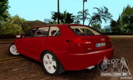 Audi A3 Sportback 3.2 Quattro para GTA San Andreas esquerda vista