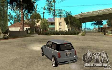 Mini Cooper - Stock para GTA San Andreas traseira esquerda vista