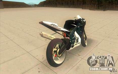 Yamaha Copbike Beta para GTA San Andreas traseira esquerda vista