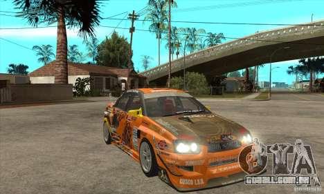 Subaru Impreza D1 WRX Yukes Team Orange para GTA San Andreas vista traseira