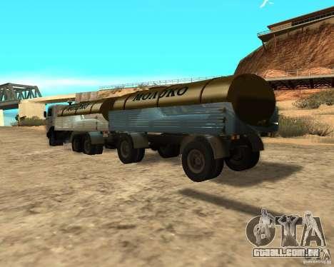 Trailer de Kamaz 53212 tanque de leite para GTA San Andreas traseira esquerda vista