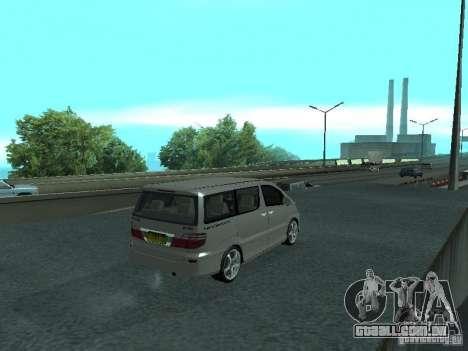 Toyota Alphard G Premium Taxi indonesia para GTA San Andreas traseira esquerda vista