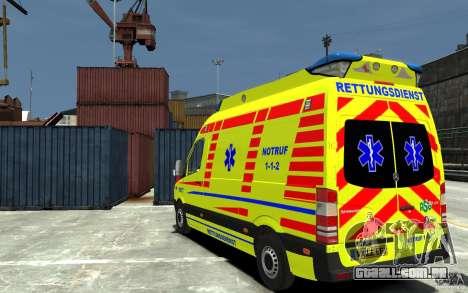 Mercedes-Benz Sprinter 2011 Ambulance para GTA 4 traseira esquerda vista
