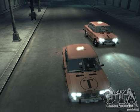 Táxi de 2106 VAZ para GTA 4 vista superior