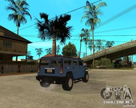 AMG H2 HUMMER para GTA San Andreas traseira esquerda vista