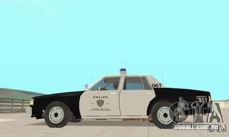 Chevrolet Caprice Interceptor 1986 Police para GTA San Andreas esquerda vista