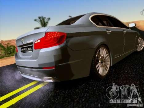 BMW 550i 2012 para GTA San Andreas vista traseira