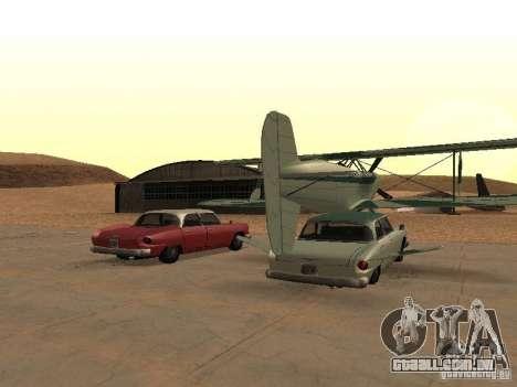 Carro-avião para GTA San Andreas traseira esquerda vista