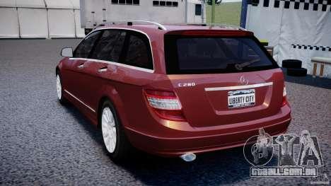 Mercedes-Benz C 280 T-Modell/Estate para GTA 4 traseira esquerda vista