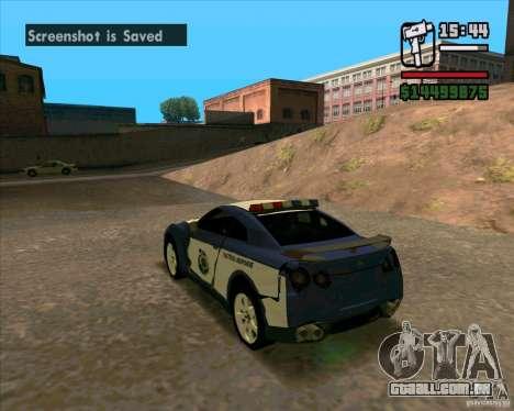 Nissan GTR35 Police Undercover para GTA San Andreas vista direita