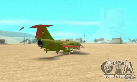F-104 Starfighter Super (verde) para GTA San Andreas esquerda vista