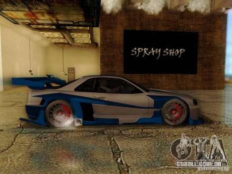 Nissan Skyline GTR34 DTM para GTA San Andreas traseira esquerda vista