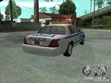 Ford Crown Victoria NYPD para GTA San Andreas traseira esquerda vista