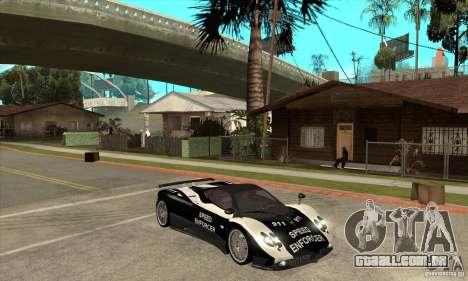Pagani Zonda F Speed Enforcer BETA para GTA San Andreas vista traseira